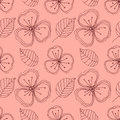 Set of seamless vector floral patterns. Hand drawn background with flowers, leaves, decorative elements. Graphic illustration. Ser