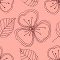 Set of seamless vector floral patterns. Pink hand drawn background with flowers, leaves, decorative elements. Graphic illustration