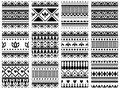 Set of seamless vector geometric black and white patterns with ornamental elements,endless background with ethnic motifs. Graphic