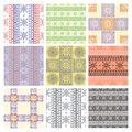 Set of seamless vector geometric colorful patterns with ornamental elements Royalty Free Stock Photo