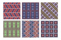 Set of seamless vector geometric patterns with ornamental elements Royalty Free Stock Photo