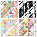 Set of seamless vector geometrical abstract patterns with lines, dots, diagonal stripes. Endless backgrounds with different hand d Royalty Free Stock Photo