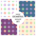 Set of seamless vector geometrical patterns with circles . pastel endless background with hand drawn textured geometric figures. G