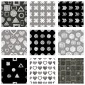 Set of seamless vector geometrical patterns with different geometric figures, forms, grey, black white. Pastel endless background