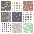 Set of seamless vector geometrical patterns with different geometric figures, forms. pastel endless background with hand drawn tex Royalty Free Stock Photo