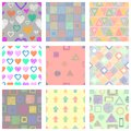 Set of seamless vector geometrical patterns with different geometric figures, forms. pastel endless background with hand drawn tex