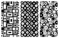 Set of seamless vector geometrical patterns. Endless background with hand drawn ornamental squares, circles. Graphic vector illust