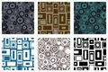 Set of seamless vector geometrical patterns. Endless colorful pastel backgrounds with squares, circles and rectangles. Graphic ill