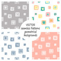 Set of seamless vector geometrical patterns with geometric figures, forms. pastel endless background with hand drawn textured geom