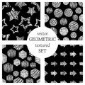 Set of seamless vector geometrical patterns with rectangles, circle, arrows, stars. Black and white pastel endless background with