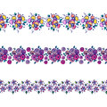 Set of seamless vector hand drawn floral patterns, endless border, frame with flowers, leaves. Decorative graphic line drawing Royalty Free Stock Photo