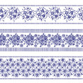 Set of seamless vector hand drawn floral patterns, endless border, frame with flowers, leaves. Decorative graphic line drawing ill Royalty Free Stock Photo