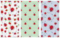 Set of Seamless vector pattern with insect. Cute hand drawn endless background with childish ladybugs and strawberry. Series of Do Royalty Free Stock Photo