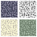 Set of seamless vector patterns, background with hand drawn cute insects, animals, fruits, flowers, leaves, decorative elements Ha