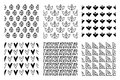 Set of seamless vector patterns. Black and white geometrical endless backgrounds with hand drawn geometric shapes, triangles, circ