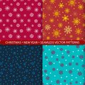 Set of seamless vector patterns with christmas and new year snowflakes. Print for textiles. Print for New Year`s costume. Design f