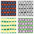 Set of seamless vector patterns. Colorful geometric background in grey, green, pink colors. Graphic illustration. Repeat print for
