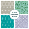 Set of seamless vector patterns with fir-trees, snowflakes. seasonal winter background with cute hand drawn fir trees Graphic illu Royalty Free Stock Photo