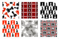 Set of seamless vector patterns with icons of chess Royalty Free Stock Photo
