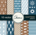 Set of 10 seamless vector patterns. Nautical theme. Royalty Free Stock Photo
