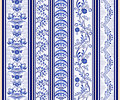 Set of seamless vertical borders in the ethnic style of painting on porcelain. Royalty Free Stock Photo