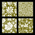 Set of seamless vintage floral pattern Royalty Free Stock Photo