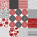 Set seamless vintage monochrome patterns collection vector Royalty Free Stock Photography