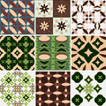Set of seamless wallpaper geometric patterns floral background Stock Photos