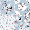 Set of seamless winter patterns with birds and plants vector repeating backgrounds Royalty Free Stock Photo