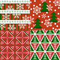 Set of seamless Xmas patterns Stock Photo