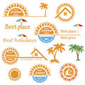 Set of season summer emblems design elements related to travel vacation and real estate business Royalty Free Stock Images