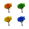 Set of season trees spring summer winter art Royalty Free Stock Images