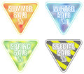 Set of seasonal sale banners in triangular shape summer winter spring special included eps format Stock Images
