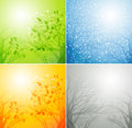 Set of seasons backgrounds vector illustration Stock Photo