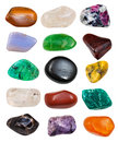 Set of semi precious stones isolated on white background Royalty Free Stock Photography