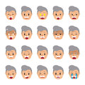 Set of a senior man faces showing different emotions