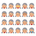 Set of a senior woman faces showing different emotions