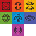 Set of seven chakra symbols