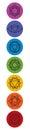Set of seven chakra symbols. Yoga, meditation