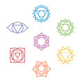 Set of seven chakra symbols. Yoga, meditation