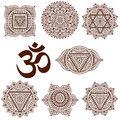 Set of seven chakras. Oriental ornaments for henna tattoo and for your design. Buddhism decorative elements