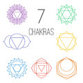 Set of seven colorful chakras. Linear character illustration of Hinduism and Buddhism.