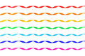 Set of seven curled different color satin ribbons Royalty Free Stock Photo