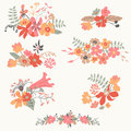 Set of seven cute floral bouquets bunch flowers hand drawn retro graphic Stock Images