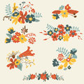 Set of seven cute floral bouquets bunch flowers hand drawn retro graphic Stock Photography