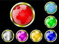 A set of seven  earth globe web buttons Royalty Free Stock Photo