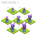 Set of seven isometric medieval magic tower defense for game isolated on white background.