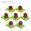 Set of seven isometric medieval tower defense for game isolated on white background.