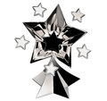 Set of seven shiny silver stars in motion Royalty Free Stock Photo