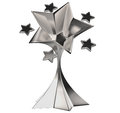 Set of seven shiny silver stars in motion Stock Photo
